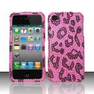 Hard Plastic Bling Rhinestone Design Case for Apple iPhone 4/4S - Hot Pink Leopard