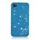 Hard Plastic Bling Rhinestone Design Case for Apple iPhone 4/4S - Light Blue
