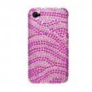 Hard Plastic Bling Rhinestone Design Case for Apple iPhone 4/4S - Hot Pink Zebra