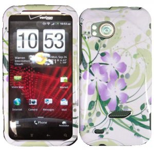 Hard Plastic Design Cover Case for HTC Rezound 6425 - Green and Purple Lily