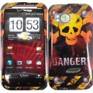 Hard Plastic Design Cover Case for HTC Rezound 6425 - Skull and Danger!!!