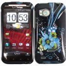 Hard Plastic Design Cover Case for HTC Rezound 6425 - Black and Blue Flower