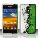 Hard Plastic Rubber Feel Design Case for Samsung Galaxy S II Epic 4G Touch - Silver and Green Vines