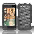 Hard Plastic Rubber Feel Design Case for HTC Rhyme/Bliss 6330 - Carbon Fiber
