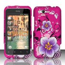 Hard Plastic Rubber Feel Design Case for HTC Rhyme/Bliss 6330 - Hot Pink and Purple Flowers