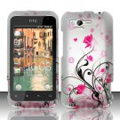 Hard Plastic Rubber Feel Design Case for HTC Rhyme/Bliss 6330 - Silver and Pink Flowers