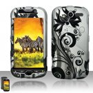 Hard Plastic Rubber Feel Design Case for HTC Mytouch HD 4G - Silver and Black Vines
