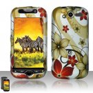 Hard Plastic Rubber Feel Design Case for HTC Mytouch HD 4G - Red and Gold Flowers