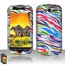Hard Plastic Rubber Feel Design Case for HTC Mytouch HD 4G - Rainbow Zebra