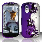 Hard Plastic Rubber Feel Design Case for HTC Amaze 4G/Ruby - Silver and Purple Vines