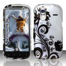 Hard Plastic Rubber Feel Design Case for HTC Amaze 4G/Ruby - Silver and Black Vines