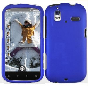 Hard Plastic Rubber Feel Cover Case for HTC Amaze 4G/Ruby - Blue