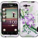 Hard Plastic Design Cover Case for HTC Rhyme/Bliss 6330 - Green and Purple Lily