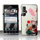 Hard Plastic Rubber Feel Design Case for Motorola Droid 3 - Crafty Flower and Butterfly