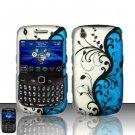 Hard Plastic Rubber Feel Design Case for Blackberry Curve 8520 - Silver and Blue Vines