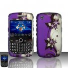 Hard Plastic Rubber Feel Design Case for Blackberry Curve 8520 - Silver and Purple Vines