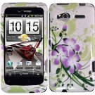 Hard Plastic Design Cover Case for HTC Radar 4G - Green and Purple Lily