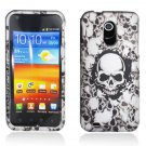 Hard Plastic Rubber Feel Design Case for Samsung Galaxy S II Epic 4G Touch - White Skulls