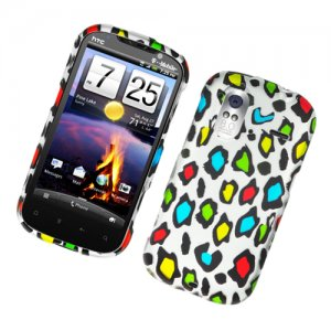 Hard Plastic Rubber Feel Design Case for HTC Amaze 4G/Ruby - Colorful Leopard