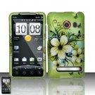 Hard Plastic Rubber Feel Design Full Case for HTC Evo 4G - Green Flowers and Butterfly