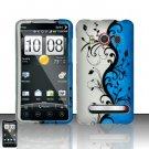 Hard Plastic Rubber Feel Design Full Case for HTC Evo 4G - Silver and Blue Vines