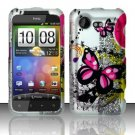 Hard Plastic Rubber Feel Design Case for HTC Incredible 2 6350 - Silver and Pink Butterfly