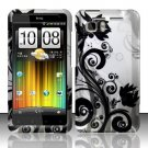 Hard Plastic Rubber Feel Design Case for HTC Vivid/Holiday - Silver and Black Vines