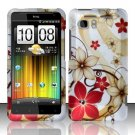 Hard Plastic Rubber Feel Design Case for HTC Vivid/Holiday - Red and Gold Flowers