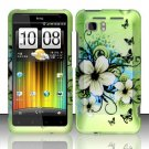 Hard Plastic Rubber Feel Design Case for HTC Vivid/Holiday - Green Flowers and Butterfly