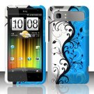 Hard Plastic Rubber Feel Design Case for HTC Vivid/Holiday - Silver and Blue Vines
