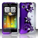 Hard Plastic Rubber Feel Design Case for HTC Vivid/Holiday - Silver and Purple Vines