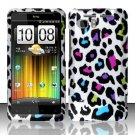 Hard Plastic Rubber Feel Design Case for HTC Vivid/Holiday - Rainbow Leopard