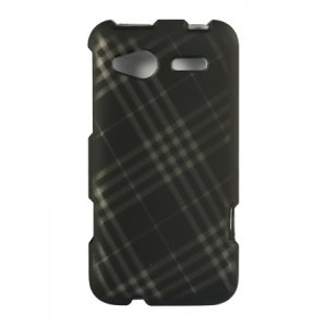 Hard Plastic Rubber Feel Design Case for HTC Radar 4G - Smoke Diagonal Checks