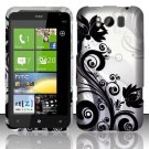 Hard Plastic Rubber Feel Design Case for HTC Titan X310e - Silver and Black Vines