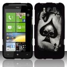 Hard Plastic Rubber Feel Design Case for HTC Titan X310e - Ace of Spade Skull