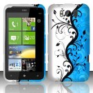 Hard Plastic Rubber Feel Design Case for HTC Titan X310e - Silver and Blue Vines