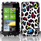 Hard Plastic Rubber Feel Design Case for HTC Titan X310e - Rainbow Leopard