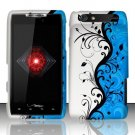 Hard Plastic Rubber Feel Design Case for Motorola Droid RAZR XT912 - Silver and Blue Vines