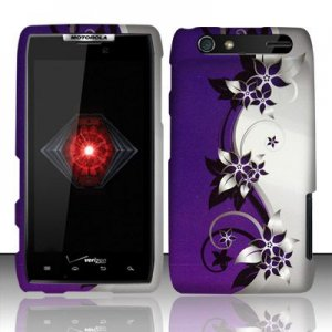 Hard Plastic Rubber Feel Design Case for Motorola Droid RAZR XT912 - Silver and Purple Vines