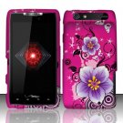 Hard Plastic Rubber Feel Design Case for Motorola Droid RAZR XT912 - Hot Pink Flowers and Butterfly