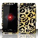 Hard Plastic Rubber Feel Design Case for Motorola Droid RAZR XT912 - Golden Cheetah