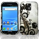 Hard Plastic Rubber Feel Design Case for Samsung Galaxy S II/Hercules T989 - Silver and Black Vines