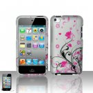 Hard Plastic Rubber Feel Design Case for Apple iPod Touch 4 - Silver and Pink Flowers