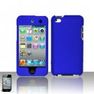 Hard Plastic Rubber Feel Cover Case for Apple iPod Touch 4 - Blue