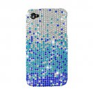 Hard Plastic Bling Rhinestone Design Case for Apple iPhone 4/4S - Blue Waterfall