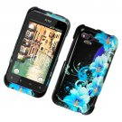 Hard Plastic Glossy Cover Case for HTC Rhyme/Bliss 6330 - Four Blue Flowers