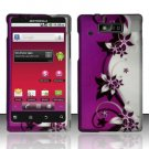 Hard Plastic Rubber Feel Design Case for Motorola Triumph - Silver and Purple Vines