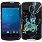 Hard Plastic Design Case for Samsung Galaxy Nexus CDMA (Verizon/Sprint) - Black & Blue Flower