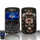 Hard Plastic Rubber Feel Design Case for Blackberry Curve 8520 - Ancient Skulls