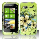 Hard Plastic Rubber Feel Design Case for HTC Radar 4G - Green Flowers and Butterfly